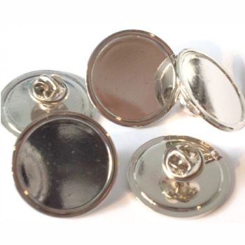 Superior Badge Blank round 25mm silver clutch and clear dome